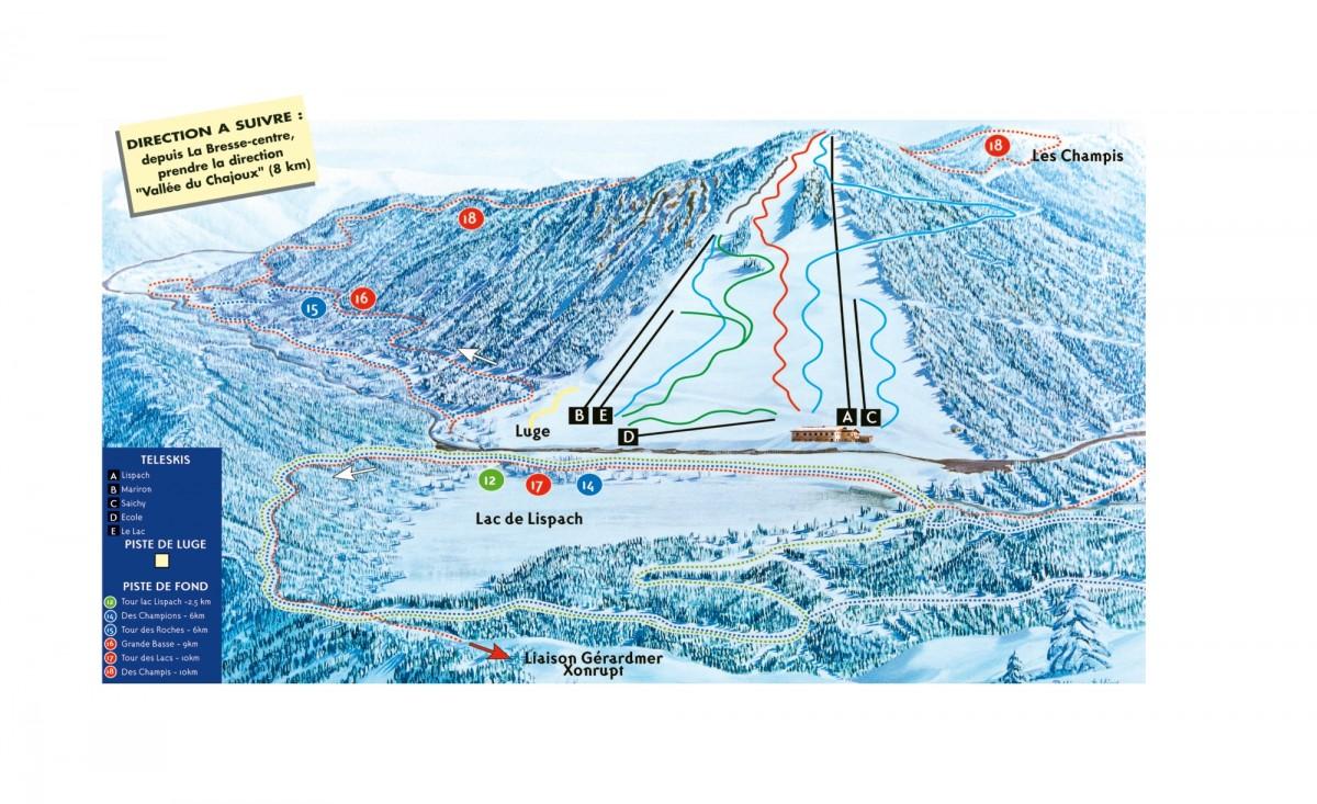 Pistes du domaine La Bresse Lispach Alpin et Fond