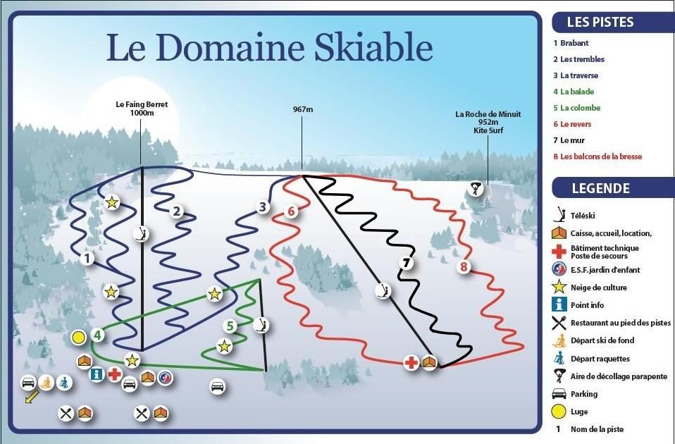 Plan des pistes de ski alpin La Bresse Brabant
