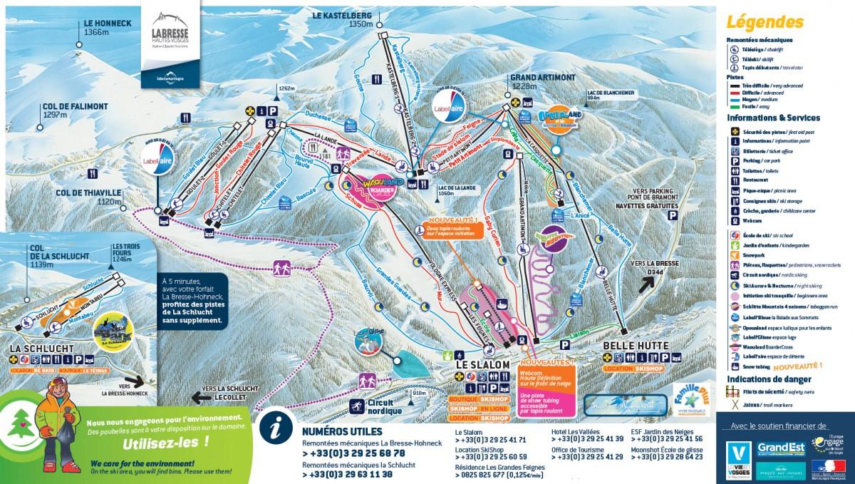 Plan des pistes La Bresse Hohneck Labellemontagne