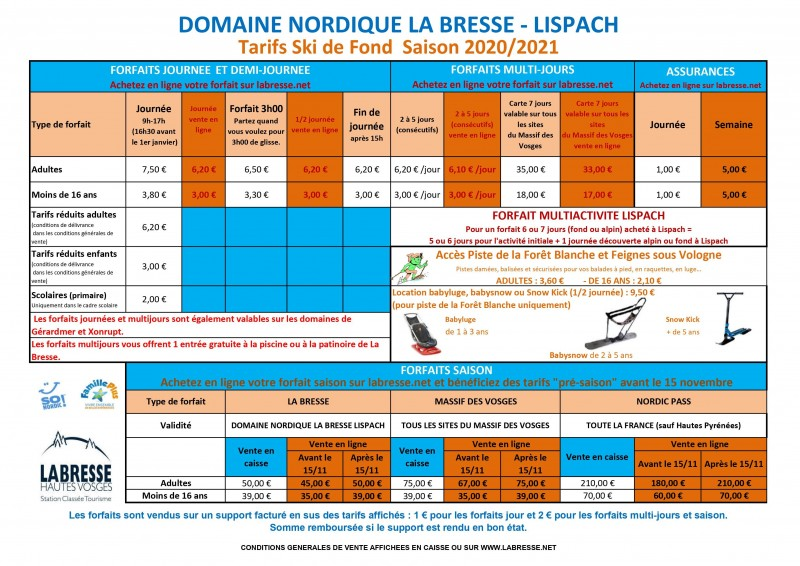 Domaine Nordique La Bresse Lispach - Les Tarifs